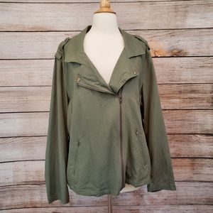 Chadwicks of Boston Green Linen Blend Moto Jacket